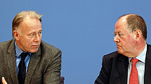 Press conference of Jürgen Trittin and Peer Steinbrück