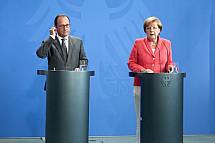 Angela Merkel receives François Hollande and Petro Poroshenko