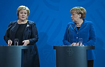 Angela Merkel receives the Prime Minister of Norway Erna Solberg