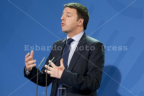 Angela Merkel receives the Prime Minister of Italy Matteo Renzi