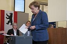 Angela Merkel votes for European elections 2014