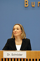 Minister for Family Affairs Kristina Schröder at the Federal Press Conference
