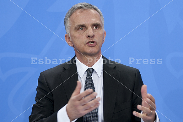 Angela Merkel receives the President of the Swiss Confederation Didier Burkhalter