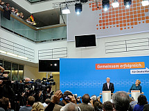 Press conference of Angela Merkel and Volker Bouffier
