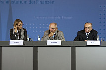 Germany's Federal Minister of Finance Schäuble receives Italy's Finance Minister Padoan
