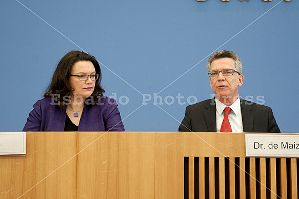 Press conference of Thomas de Maizière and Andrea Nahles